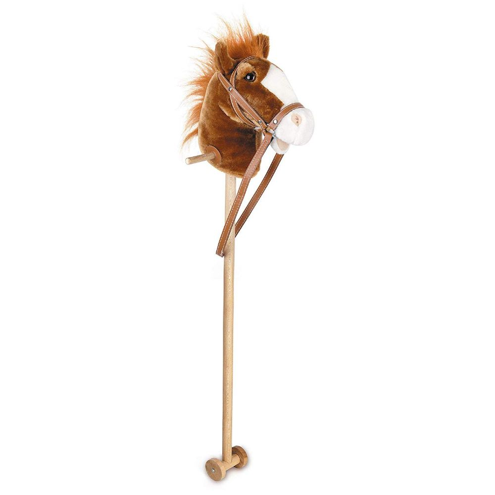 Traditional Kids Children 95cm Tall Wooden Hobby Horse With Neighing Sound Toy